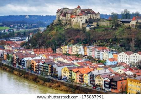Burghausen, old german town near Salzburg - stock photo