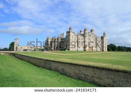 Burghley House, landmark medieval castle in Stamford, England - stock photo