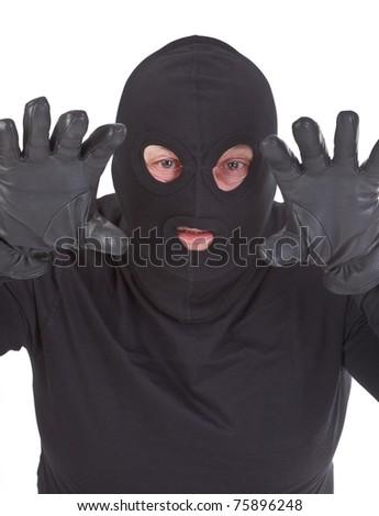 Burglar attack against pure white background - stock photo