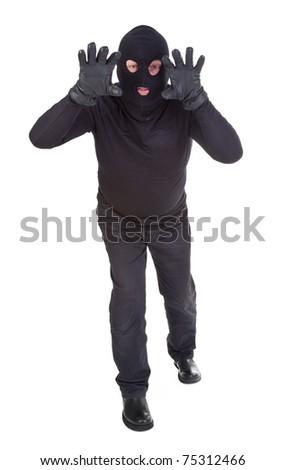 Burglar attack against white background - stock photo