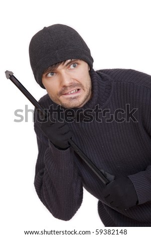 burglar with crowbar sneaking - isolated on white background - stock photo