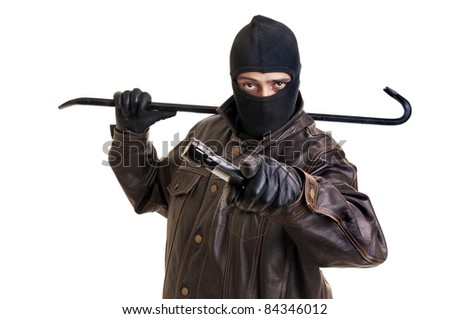 Burglar with flashlight and crowbar isolated in white - stock photo