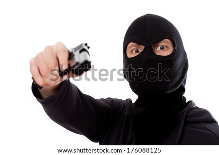 Burglar with gun and mask on white isolated background