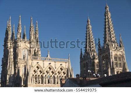 Burgos (Castilla y Leon, Spain): exterior of the medieval cathedral, in gothic style, at evening