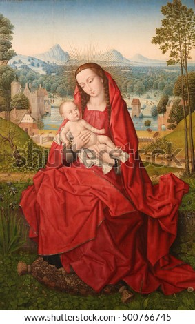 BURGOS, SPAIN - AUGUST 4, 2016: Madonna and Child, painting by Hans Memling (1433-1494) in Burgos Cathedral, Burgos, Castile and Leon. Spain