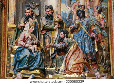 BURGOS, SPAIN - AUGUST 13, 2014: Sculpture depicting the Epiphany or Adoration of the Magi  in the Cathedral of Burgos, Castille, Spain
