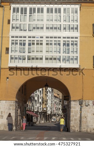 Burgos, Spain, July 14, 2016: Arch of San Juan, one of the medieval entrances. July 14, 2016 in Burgos, Spain.