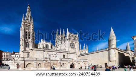 BURGOS, SPAIN - OCT 19: Cathedral of Santa Maria on Oct 19, 2014 in Burgos, Spain. It is famous for its size and architecture style and is declared a UNESCO World Heritage Site.