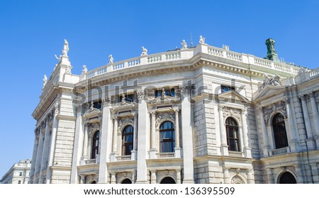 Burgtheater (Court Theatre), the Austrian National Theatre in Vienna and one of the most important German language theatres in the world. - stock photo