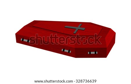 Burgundy expensive coffin for rich with handles on a white background.   - stock photo