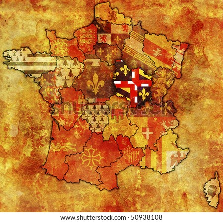 Burgundy on old map of france with flags of administrative divisions
