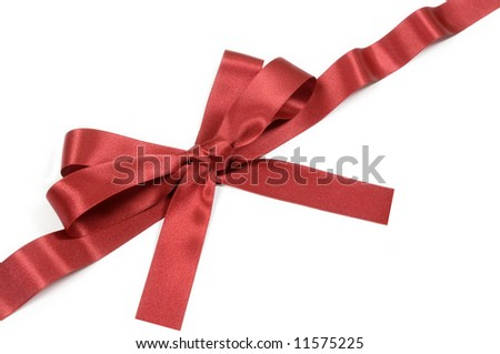Burgundy red ribbon, bow, isolated