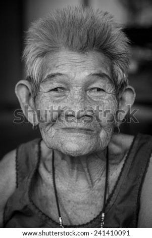 Buri Ram - Nov 12: Unidentified woman in Thailand who is more than 100 years old on Nov 12, 2013 in Bangkok, Thailand.