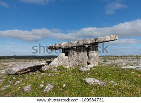 Burial marker from prehistoric times in south west Ireland called Poulnabrone Dolmen - stock photo