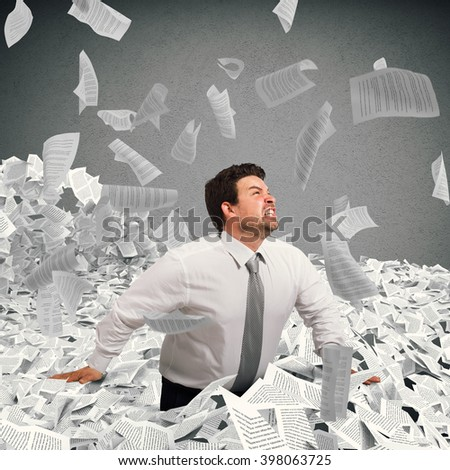 Buried by the bureaucracy - stock photo