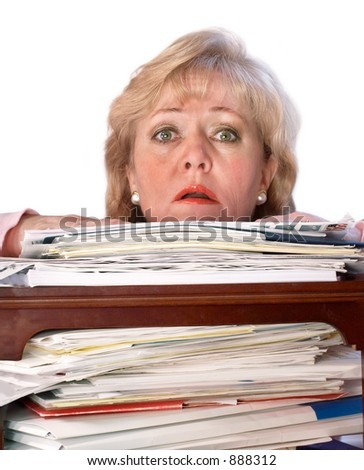 Buried by the paperwork - stock photo