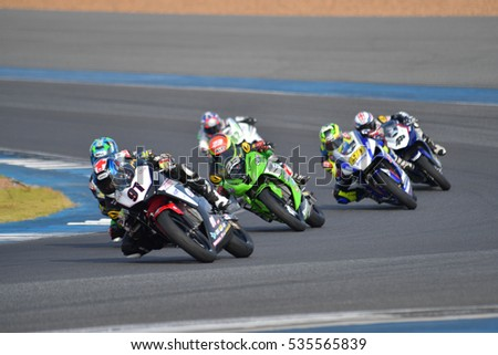 BURIRAM - DECEMBER 4 : Sitthisak Onchawiang of Thailand in Asia Road Racing Championship 2016 Round 6 at Chang International Racing Circuit on December 4, 2016, Buriram, Thailand.