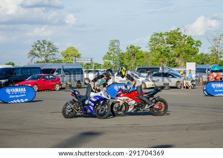 BURIRAM - JUNE 20: Unidentified motocross jumping stuntman on display The 2015 Autobacs Super GT Series Race 3 on June 20, 2015 at Chang International Racing Circuit, Buriram Thailand.