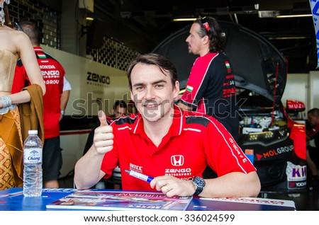 BURIRAM - NOVEMBER 1: Norbert Michelisz of Zengo Motorsport Team on display 2015 FIA World Touring Car Championship on November 1, 2015 at Chang International Racing Circuit, Buriram Thailand. - stock photo