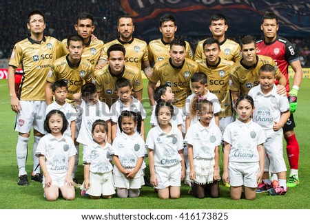 BURIRAM, THA- APRIL 27: Muangthong Utd. football club poses during the competition Thai League 2016 between Buriram Utd. and Muangthong Utd. at I-Moblie Stadium on April 27, 2016 in Buriram, Thailand.