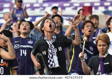 BURIRAM,THAILAND-APR 5:Unidentified fans of Sanfrecce Hiroshima supporters during AFC Champions League 2016 Buriram UTD.and Sanfrecce Hiroshima at I-mobile Stadium on April 5,2016 in Thailand