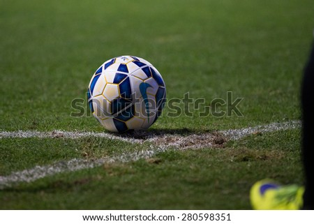 BURIRAM,THAILAND-APRIL 07: Football on the Field  during The AFC Champions League 2015 between Buriram UTD.and Gamba Osaka at I-mobile Stadium on Apr 07,2015 in Thailand - stock photo