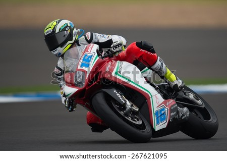 BURIRAM,THAILAND-MARCH21: Jules Cluzel no.16 of MV Agusta Reparto Corse Team rides during Qualifying at the Supersport World Championship.at Chang International Circuit on March21,2015 in Thailand. - stock photo