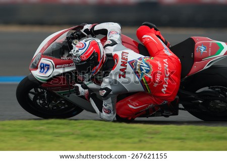 BURIRAM,THAILAND-MARCH21:Lorenzo Zanetti no.87of MV Agusta Reparto Corse Team rides during Qualifying at the Supersport World Championship.at Chang International Circuit on March21,2015 in Thailand. - stock photo