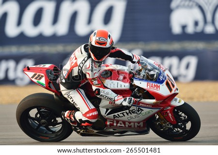 BURIRAM,THAILAND-MARCH20:Nicolas Terol of Spain rides the no.18 Althea Racing team during free practice2 at the World Superbike Championship at Chang International Circuit on March20,2015 in Thailand. - stock photo