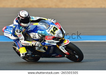BURIRAM,THAILAND-MARCH 20:Randy De Puniet of France rides the no.14 VOLTCOM Crescent  during practice 2 at the World Superbike Championship at Chang International Circuit on March20,2015 in Thailand.