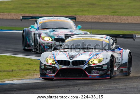 BURIRAM THAILAND - OCTOBER 5:Akira Iida of  LM corsa Team  drives during the Autobacs Super GT Round7 Burirum United Super GT Race at Chang International Circuit,on Oct 05,2014 in,Thailand - stock photo