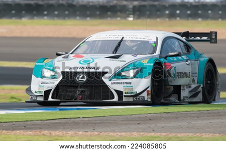 BURIRAM THAILAND-OCTOBER 5:James Rossiter of PETRONAS TOM'S RC F Team drives during the Autobacs Super GT Round7  at Chang International Circuit,on Oct 05,2014 in,Thailand - stock photo