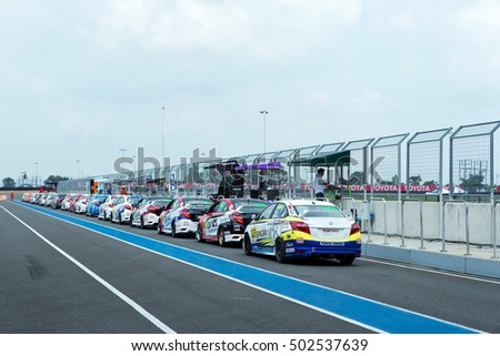 BURIRAM THAILAND - October 9, 2016: Race Support Toyata Motorsport in Super GT Series 2016 round 7 in Thailand at Chang International Circuit in Buriram United.