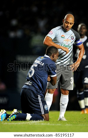 BURIRAM THAILAND-SEPT. 21: Ney Fabiano of Chonburi  in action during Toyota League Cup between Buriram PEA(B) and Chonburi Fc(G) at I-mobile Stadium on September 21, 2011 in Buriram, Thailand.