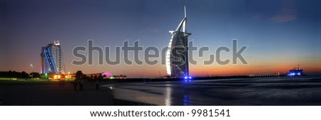 Burj Al Arab, Jumeirah-Beach, at sunset, Dubai - stock photo