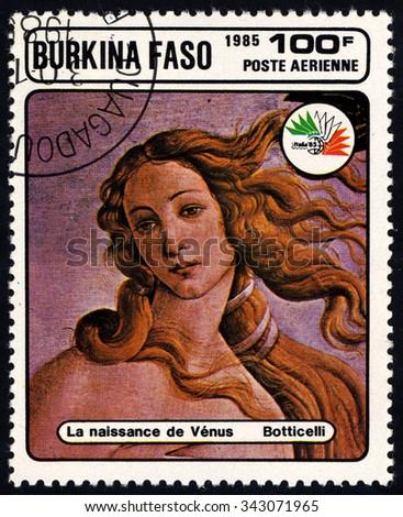 BURKINA FASO - CIRCA 1985: A stamp printed in Burkina Faso devoted to the International Philatelic Exhibition, Italy-85, shows a picture of Botticelli (Birth of Venus), circa 1985 - stock photo