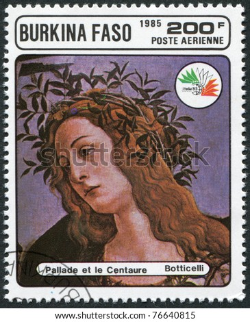 """BURKINA FASO - CIRCA 1985: A stamp printed in the Burkina Faso, is devoted to the International Philatelic Exhibition, Italy-85, shows a picture of Botticelli, """"Pallas and the Centaur"""", circa 1985 - stock photo"""