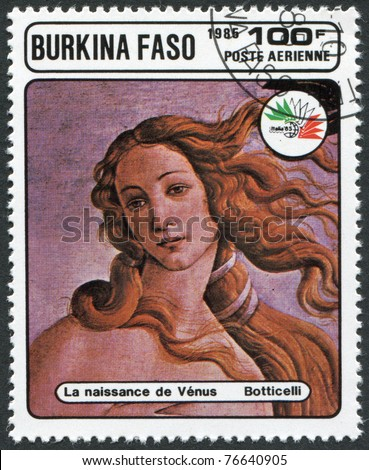 """BURKINA FASO - CIRCA 1985: A stamp printed in the Burkina Faso, is devoted to the International Philatelic Exhibition, Italy-85, shows a picture of Botticelli, """"Birth of Venus"""", circa 1985 - stock photo"""