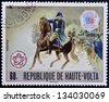BURKINA FASO - CIRCA 1976: stamp printed in Burkina Faso, shows Washington at Battle of Trenton, circa 1976 - stock photo