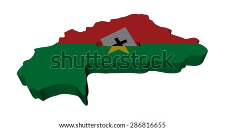 Burkina Faso election map with ballot paper illustration - stock photo
