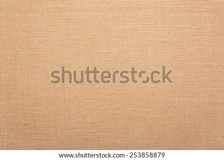 Burlap, brown natural linen texture background - stock photo