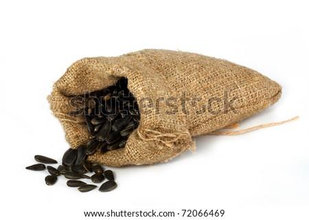 Burlap gift sack isolated on white background - stock photo