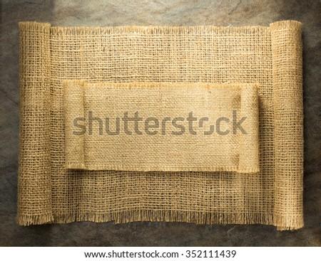 burlap hessian sacking on background texture - stock photo