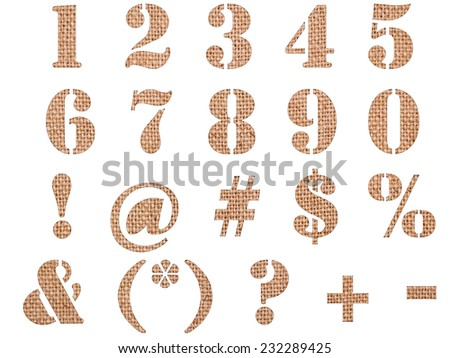 Burlap material textured numbers, signs and symbols isolated on white background. - stock photo