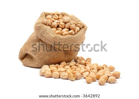 Burlap sack with chickpeas spilling out over a white background. Soft shadow - stock photo