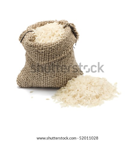 burlap sack with chinese blanched rice spilling out over a white background - stock photo
