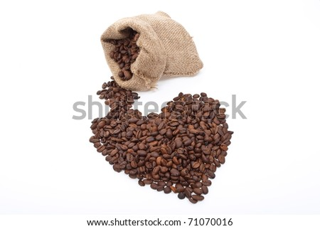 Burlap sack with coffee heart - stock photo