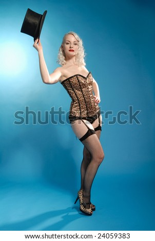 burlesque style beautiful blonde girl with top hat - stock photo