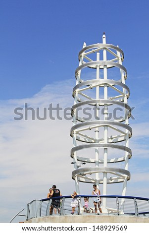 BURLINGTON, ONTARIO - JULY 23: The viewing platform of Brant Street Pier, Burlington, 23 July, 2013. The launch of the new pier forms part of the Sound of Music festival in Spencer Smith Park