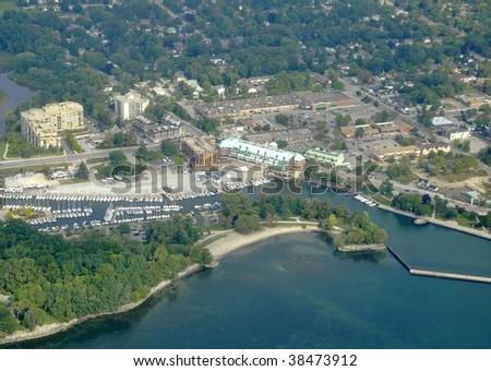 Burlington Ontario marina aerial - stock photo
